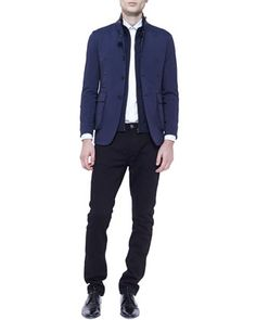 Jacket with Buckle Collar, Long-Sleeve Check Shirt & Straight-Leg Denim Jeans by Burberry London