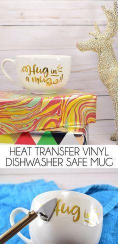 Learn how to iron HTV on a mug! Heat transfer vinyl on a mug is dishwasher safe!