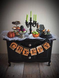 Miniature Halloween furniture dollhouse sideboard miniature