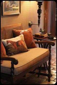Equestrian style vignette: bench with burnt orange velvet throw pillows & horse pillow - brick floor - checked wallcovering Equestrian Decor, Equestrian Style, Equestrian Fashion, English Country Decor, English House, English Style, English Manor, French Style, Painted Cottage
