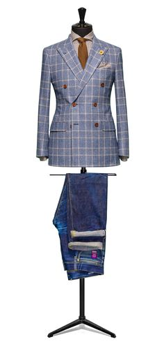 Blue jacket Glencheck brown windowpane S100 http://www.tailormadelondon.com/shop/tailored-jacket-fabric-7810-check-blue/