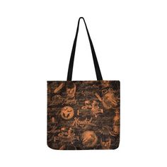 Black & Orange Haunted Halloween Reusable Shopping Bag Model 1660 (Two sides) Halloween Images, Spooky Halloween, Halloween Themes, Reusable Shopping Bags, Reusable Tote Bags, Clutches, Models, Black And White, Collage