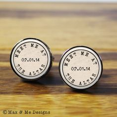 Meet Me At the Altar ~ Personalised wedding cufflinks - A personalized gift for the Groom on your wedding day (stainless steel cufflinks) on Etsy, $52.80