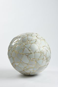 "nicecollection:  "" Yee Sookyung - Translated Vase, 2011, Ceramic shards, epoxy, 24k gold leaf  25 1/5 × 24 4/5 × 24 4/5 in  """
