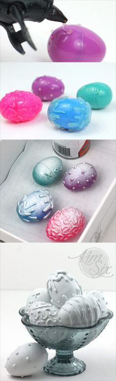 Using hot glue and spray paint she turned plastic dollar store easter eggs into modern high end textured eggs that look like stone or plaster