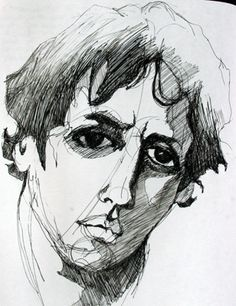 Male Portrait, Jylian's Drawings, charcoal on paper
