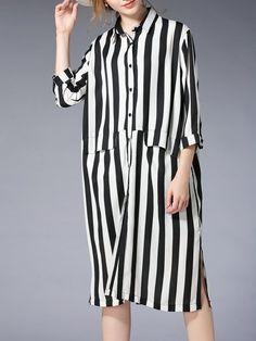 Shop Midi Dresses - Black-white Printed Shift 3/4 Sleeve Shirt Collar Midi Dress online. Discover unique designers fashion at StyleWe.com.