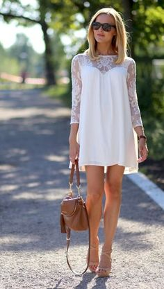 For Love And Lemons White Loose Fit Lace Neckline Mini Dress by Caroline