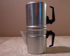 Vintage Aluminum 2 Cup Double Sided Drip Espresso Italian Coffee Pot