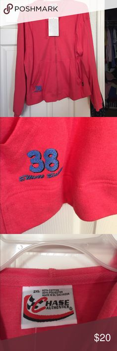 NASCAR Elliott Sadler woman's hoodie NASCAR Elliott Sadler pink woman's hoodie. NWT. Lightweight pink hoodie. 2 pockets in the front. Little blue iron on logo on the right pocket. Size 2xl Jackets & Coats