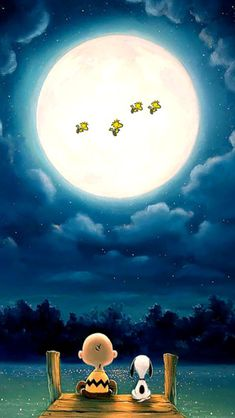Charlie Brown, Snoopy & Woodstock Family under the Full Moon Light. Snoopy Et Woodstock, Woodstock Charlie Brown, Snoopy Love, Snoopy Tattoo, Snoopy Images, Snoopy Pictures, Iphone Wallpapers, Cute Wallpapers, Wallpaper Backgrounds