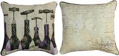 "TLSW6B 17"" x 17"" Sanctuary Wine 6 Bottles Tapestry Pillow© Susan Winget                                                        winery"