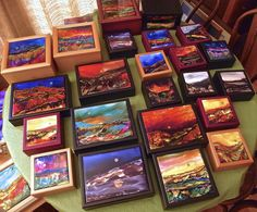 alcohol ink tiles on wood boxes
