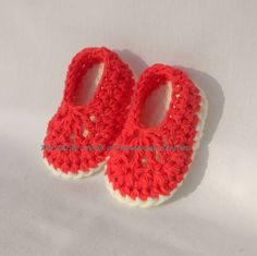 €13. Crochet Red Ballet Sandals for a baby girl 6-12 months old. Ready to ship.