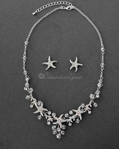 A beautiful beach wedding accessory for any beach going bride! This necklace set features crystal beads and jeweled starfish! it is 16 inches long with a 2 inch extender, the earrings are of an inch with post pierced backs. Beach Wedding Reception, Beach Wedding Decorations, Beach Wedding Favors, Wedding Rings, Wedding Ideas, Beach Weddings, Wedding Hacks, Beach Wedding Jewelry, Wedding Inspiration