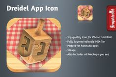 Dreidle App Icon Graphics - Top quality Icon for iPhone and iPad- Fully layered editable PSD file, Vectore shapes- Perfect f by Graphicool Ios Icon, Vector Shapes, Ipad, Icons, Creative, Graphics, Illustration, Top, Graphic Design