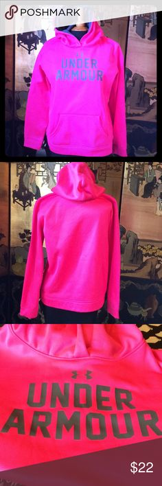 "UNDER ARMOUR PINK HOODIE BEAUTIFUL PINK STRETCHY UNDER ARMOUR HOODIE. HAS A TWO HAND POCKET IN FRONT AND IS IN PERFECT CONDTION, YOUTH XL MEASUREMENTS 22"" FROM UNDER ARM TO UNDER ARM= 44""BUST, WAIST 21""= 42"" WAIST, 24"" LENGHT. SO A LADY COMPARABLE TO THOSE MEASUREMENTS COULD WEAR. Under Armour Tops Sweatshirts & Hoodies"