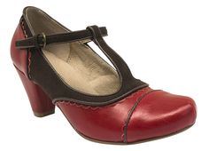 Chelsea Crew Mango Heels mango red brown t-strap two tone scalloped heels