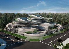 Zaha Hadid Architecture, Urban Architecture, Futuristic Architecture, Minimalist Architecture, Chinese Architecture, House Architecture, Futuristic Home, Futuristic Design, Mima House