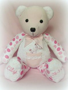 Memory Bear made from baby's first clothes... £40 plus postage