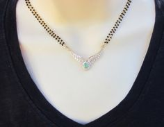 CZ and Emerald Pendant Mangalsutra Two Strand by Alankaar on Etsy