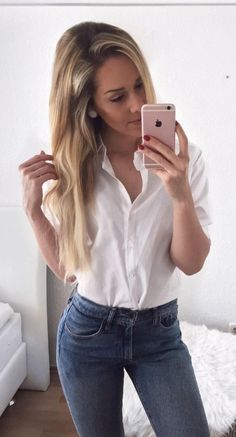 #summer #outfits  White Shirt + Skinny Jeans