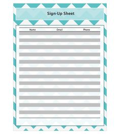 Free Printable Sign Up Sheets | Sign-up sheets | Pinterest | Free ...