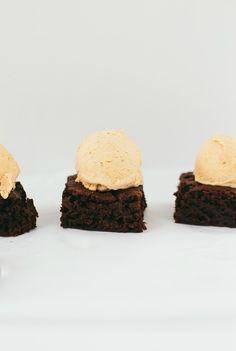 nutella brownies with pumpkin ice cream   the vanilla bean blog