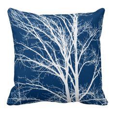 White Tree Branches Throw Pillows