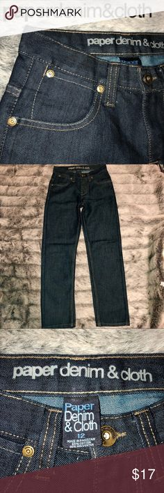 🌟👖PaperDenim&Cloth Boys Denim Jeans Sz 12 Boys NWOT Denim Jeans by PaperDenim&Cloth ! Sz 12, Straight Relaxed leg, Classic 5 pocket design, dark denim with zipper front and single button to fasten in the waist! 65% cotton, 35% poly! Nice jeans that needs wear as my son grew too fast to even wear them once! Paper Denim & Cloth Bottoms Jeans