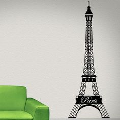 """Style and Apply Paris Eiffel Tower Wall Decal Size: 109"""" H x 42"""" W, Color: Orange"""