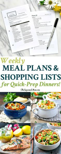 Simply Mailed Weekly Meal Plans and Shopping Lists for Quick Prep Dinners! Meal Prep | Dinner Ideas | Easy Dinner Recipes | Meal Planning