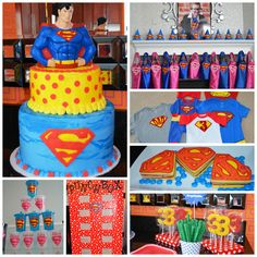 Superman Birthday Party- cake, hats, capes, punch box, sippy cups, cookies Superman Birthday Party, Superhero Party, 3rd Birthday Parties, Boy Birthday, Birthday Ideas, First Birthdays, Party Ideas, Sippy Cups, Spiderman