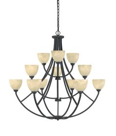 Designers Fountain 829812 12 Light Chandelier from the Tackwood Collection - 10f Burnished Bronze Indoor Lighting Chandeliers