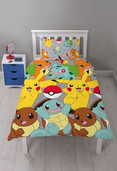POKEMON-CATCH-PIKACHU-SINGLE-ROTARY-DUVET-QUILT-COVER-SET-CHILDRENS-BEDROOM-KIDS