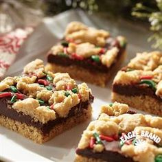 Fudge-Filled Holiday Peanut Butter Bars from Eagle Brand®