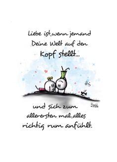 Liebe ist... wenn jemand deine Welt auf den Kopf stellt. Als Postkarte versenden: https://pokamax.com/de/entwuerfe/bild/11482
