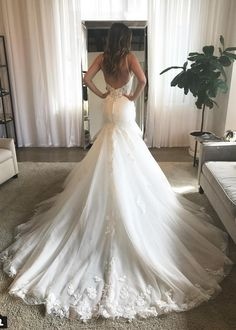 Charming Mermaid V Neck Open Back Spaghetti Straps Lace Wedding Dresses with Train wedding dresses open backs Mermaid V Neck Lace Wedding Dress Wedding Dress Necklace, Dream Wedding Dresses, Lace Wedding, Mermaid Wedding, Backless Wedding, Lace Mermaid, Wedding Goals, Wedding Wishes, Dream Dress