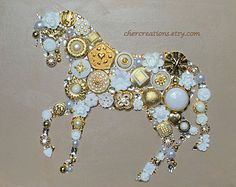 MADE TO ORDER 8x10 Button Art, Button Artwork, diy, ooak, riding, stallion, pony, cowboy, western, wall art, country, filly, collages