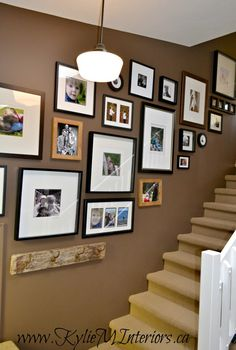 benjamin moore chocolate fondue brown paint colour with art gallery or display up stairwell wall