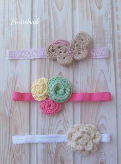Baby crochet elastic headbands