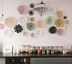 crocheted baskets as kitchen wall decoration. / sfgirlbybay