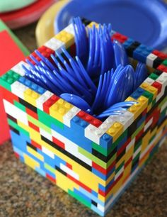Planning a LEGO PARTY? Stay in theme  build your own LEGO utensils holder! Would work for other party themes too. More party ideas: http://www.under5s.co.nz/shop/Activities/Birthday+Parties.html?ppp=1000