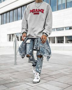 """1,998 Likes, 27 Comments - Outfitboy™ (@outfit_boy) on Instagram: """"This Outfit Boy is @maiknila Champion Hoodie Levi's Jacket Mnml.la Jeans Jordan 4 Shoes"""""""