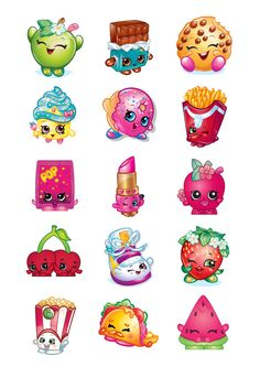 Shopkins cupcake toppers favor tags stickers digital download