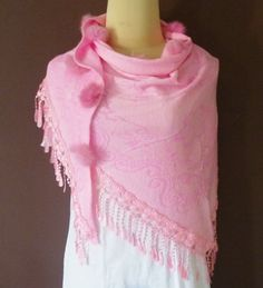7d0857c967 Items similar to Light pink Soft polyester Triangle scarf 57 x 27 inch    lace shawl   women scarf   winter shawl   pom pom scarf   gift ideas on  Etsy