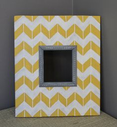 Mustard yellow chevron frame with rustic grey ... perfect with E n Middle