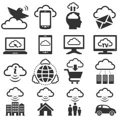 Cloud Computing black & white royalty free vector icon set vector art illustration