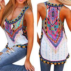 acbebf1757345 Boho Women Summer Vest Shirt Top Sleeveless Blouse Gypsy Beach Tank Tops  T-Shirt