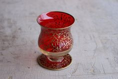 Red And Gold Enamel Overlay Footed Toothpick Holder Brandy Snifter Candle Holder Or Cordial Glass